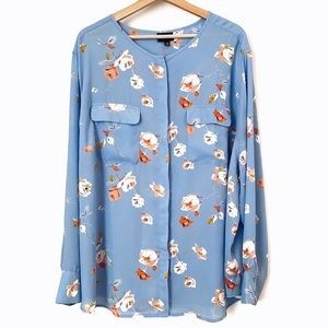 Who What Wear Floral Button Up Blouse 4X